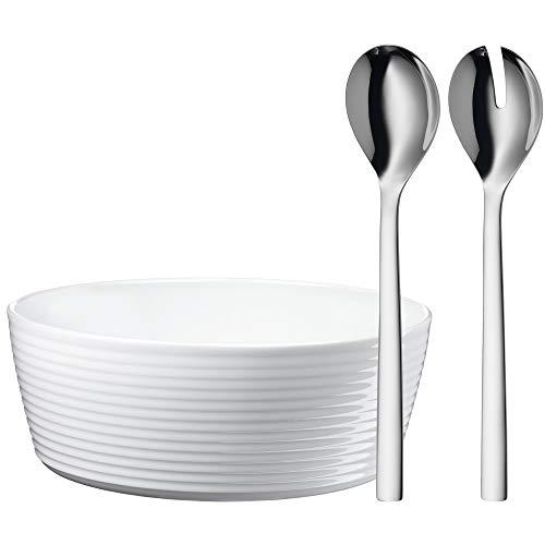 WMF Nuova Salatschüssel, Set 3-teilig, Salatbesteck, mit Salatschale, Cromargan Edelstahl poliert, spülmaschinengeeignet, Porzellan, L 30 cm