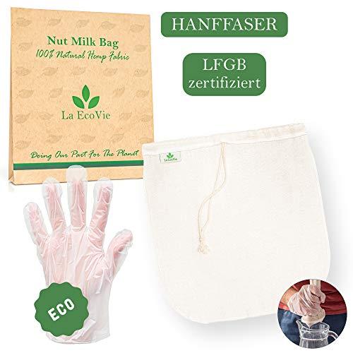 Nussmilchbeutel aus natürlichem Hanf | Passiertuch für Nussmilch Mandelmilch Hafermilch Selleriesaft | Filterbeutel & Bio Handschuhe | Filtertuch Alternative zu Sieb Fein Gaze Käsetuch Leinentuch