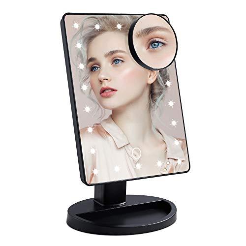 Wopeite Schminkspiegel 22 LED Licht 180° Drehbar Kosmetikspiegel mit 10-facher Vergrößerung Touchscreen und Einstellbarer Helligkeit Makeup Spiegel mit Blendfreier Beleuchtung Schwarz