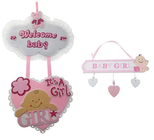 It's A Girl Hospital Door Hanger Sign for New Baby - Welcome Baby Decoration - Newborn Birth Announcement - Pink Baby Shower Decor - Set Large and Small Hangers