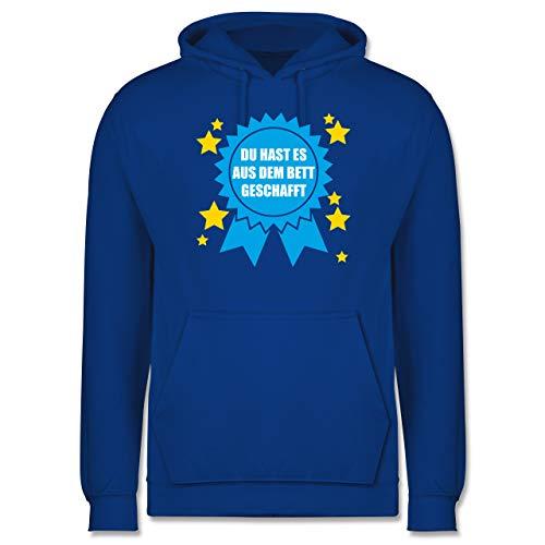 Shirtracer Statement - Du hast es aus dem Bett geschafft - XXL - Royalblau - Spruch - JH001 - Herren Hoodie und Kapuzenpullover für Männer