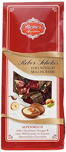 Reber Schokis, Mini-Pralinés, Edelnougat, Milchcreme, Alpenmilch-Schokolade, Tolles Geschenk, 4 x 8er-Confiserie-Tüten
