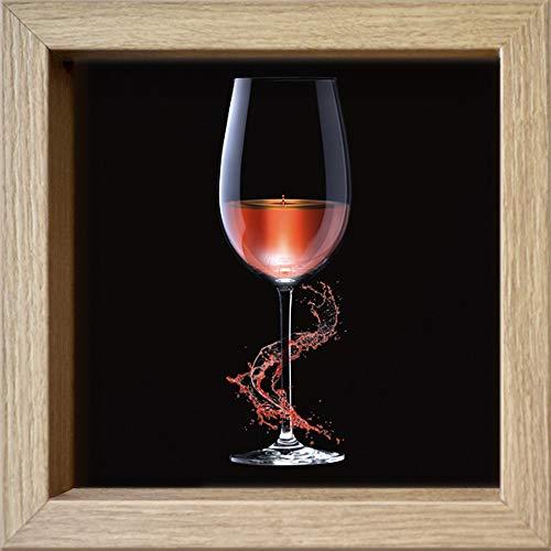 International Graphics ingelijste briefkaart - HILLERT, Peter - 'GrapeSplash Three' - 16 x 16 cm - houtkleurige lijst