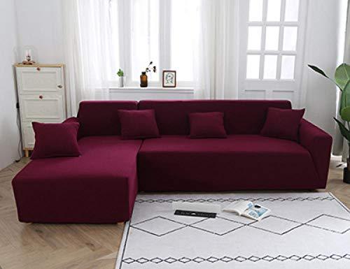 Gramke Funda de sofá de Jacquard de Spandex/Fundas de sofá de Alta Elasticidad/Fundas de sofá Funda elástica para sofá en Forma de L,1/2/3/4 plazas Fundas de sofás,Rojo Vino,3 plazas 185-230cm