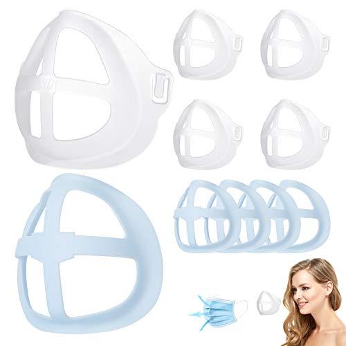 Soporte de máscara 3D, soporte interno de silicona transpirable para el rostro, marco de soporte interno para máscara facial, protector de lápiz labial facial reutilizable (10 piezas)