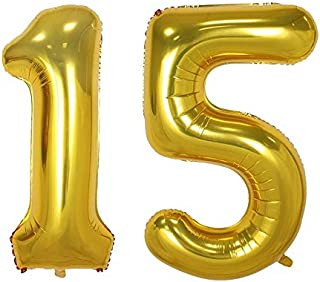 40inch Gold Number Balloon Party Festival Decorations Birthday Anniversary Jumbo foil Helium Balloons Party Supplies use Them as Props for Photos (40inch Gold Number 15)