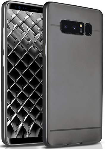 moex Samsung Galaxy Note8   Hülle Silikon Schwarz Smooth Back-Cover Chrom Matt Silikonhülle Ultra-Slim Schutzhülle Metallic Handy-Hülle für Samsung Galaxy Note 8 Hülle Dünn
