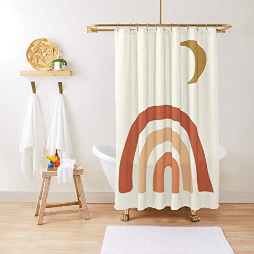43LenaJon Rainbow and Moon Earth Tones Terracotta Gold Shower Curtain Boho Shower Curtain Boho Chic 180Wx90H