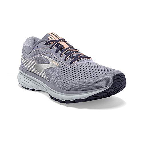 Brooks Womens Ghost 12 Running Shoe - Granite/Peacoat/Peach - B - 9.0