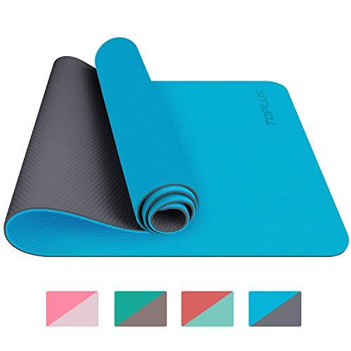 TOPLUS Tappetino da Yoga, Tappetino da Yoga Imbottito e Antiscivolo Fitness Pilates e Ginnastica con Cinturino di TPE,180 x 60 cm (Blu Chiaro)