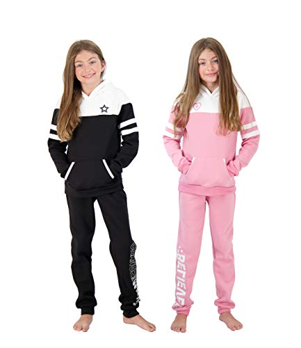 Star Ride Girls 4-Piece Fleece Active Hoodie and Athletic Jogger Sweatpants and Sweatshirt Kids Clothing Set (Rose-Black, 5/6)