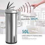 1home Mülleimer mit Sensor 50L Automatischer Abfalleimer INOX mit Infrarot Automatisch Kücheneimer Abfallbehälter Bewegungssensor Edelstahl Chrom Oval - 6