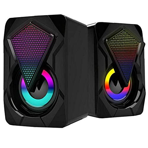 FeelMeet Altavoces de la computadora con el Cable USB Inicio Gaming Audio portátil para Multi Escritorio Uso de tabletas Negro