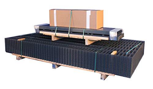 MEIN GARTEN VERSAND Doppelstab-Zaun Set/verzinkter Stahl: anthrazit (RAL 7016) / Höhe: 100 cm / 10 m Länge/Draht 6-5-6 mm/inkl. Gitterstabmatten, Pfosten und Montagematerial