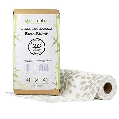 [2x] 100% Bamboe Wasbare Keukenrollen | Vervangt tot 50 normale Keukenrollen | Wasbaar Keukenpapier | Papierdoeken | Duurzaam Keukenpapier | Milieuvriendelijke Keukenrollen (Grijs)