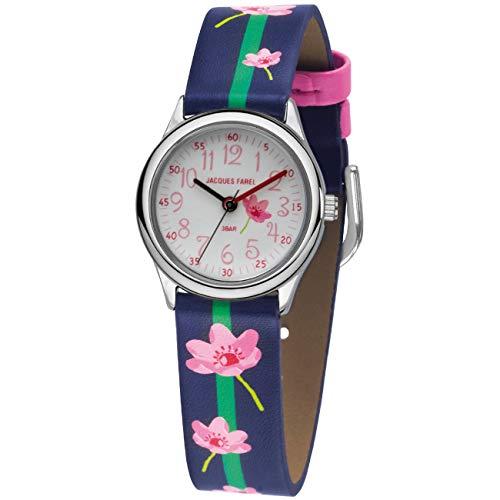 JACQUES FAREL Kinder-Armbanduhr Mädchen Blumen rosa-blau Analog Quarz Metall Kunstleder HCC 301
