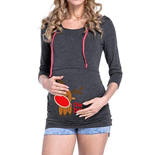 YWLINK Damen Weihnachten Rudolf Pullover Mutterschaft Stillen Oberteile LangäRmelige Schwangere Kapuzenbluse Sweatshirt(XL,Dunkelgrau)