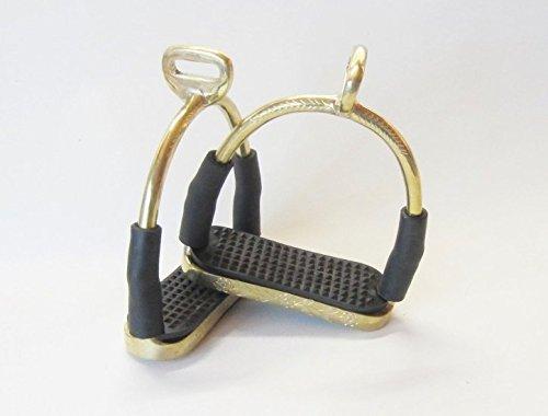 Edler Sicherheits-Steigbügel mit Gelenken, 90° gedreht, Farbe in Gold - Messing, verziert , 1 Paar