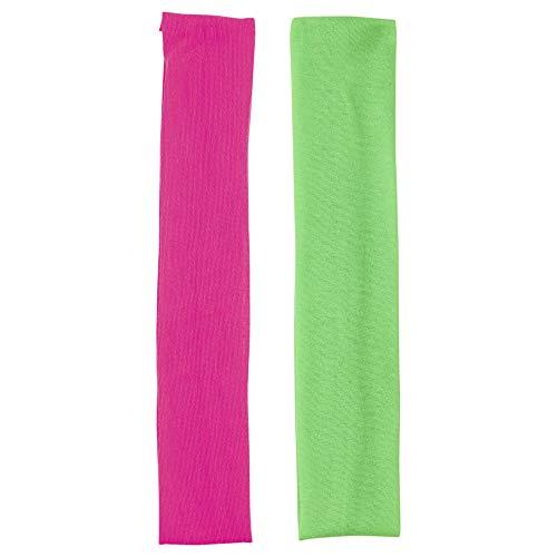 Widmann 05831 - Neon Stirnband, 2er Set, pink und grün, Schweißband, Fitnessband, 80er Jahre Trainingsanzug, Aerobic, Motto Party, Karneval