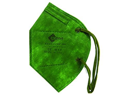 Gima CEPM Mascarillas Filtrante FFP2 NR Comfymask, Made in Italy, 5 capas, Verde Oscuro, Tejido suave y cómodo, Pieza nasal ajustable, con elásticos, Certificado PPE, 20 piezas en sobres de 2 piezas
