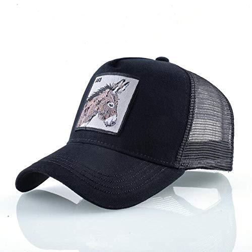 Gorras de bisbol Sombreros de Hip Hop Hombres Snapback Malla Transpirable Moda Streetwear Gorra de Camionero Mujeres-Black Donkey-56-59cm