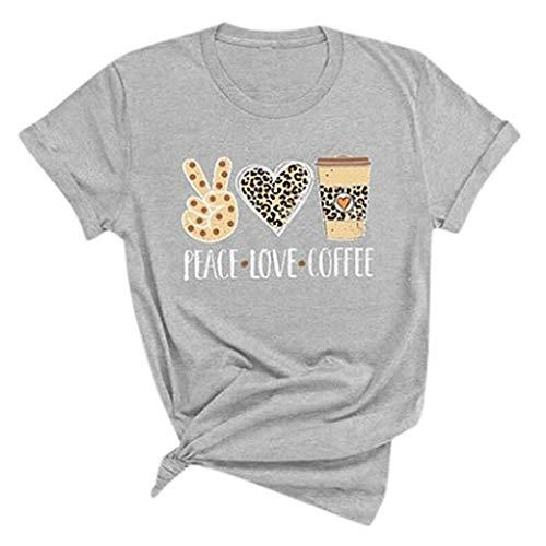 YAnGSale Top Women Summer T-Shirt Peace Love Coffee Letter Blouse Short Sleeve Tops Tee O-Neck Shirt Streetwear (Gray, L)