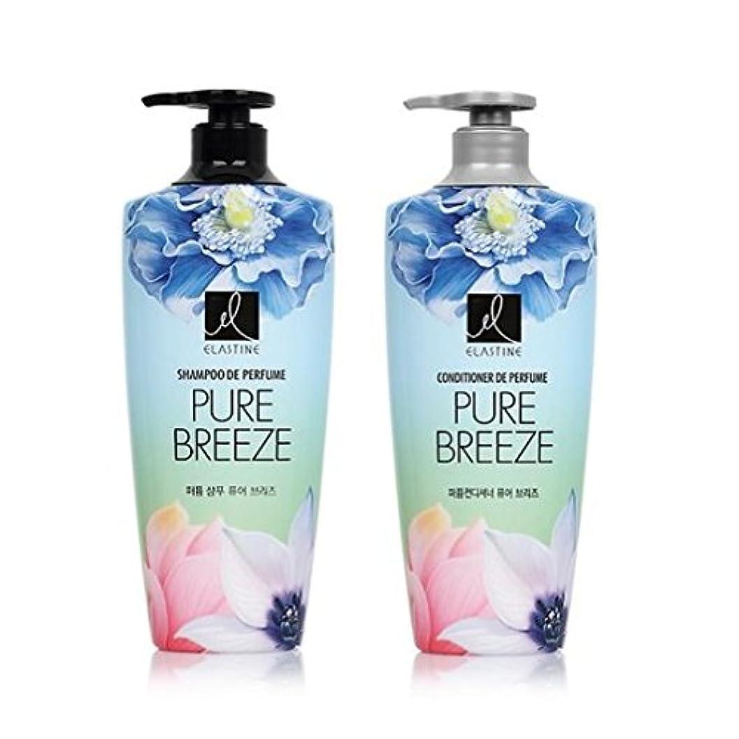 モック遠近法高尚な[エラスティン] Elastine Perfume PURE BREEZE 4本 セット / シャンプー(600ml) + コンディショナー(600ml) / パフュームピュアブリーズ [並行輸入品] (シャンプー 2本?コンディショナー 2本)