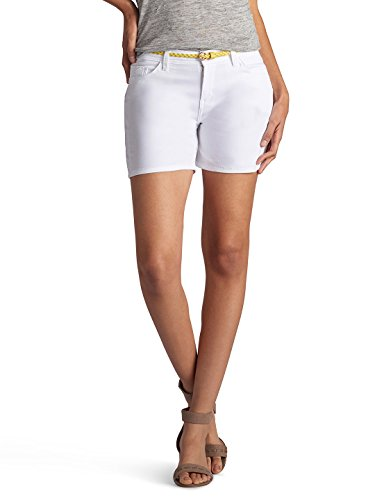 Lee Women's Modern Series Midrise Fit Belted Twila Short, White, 18