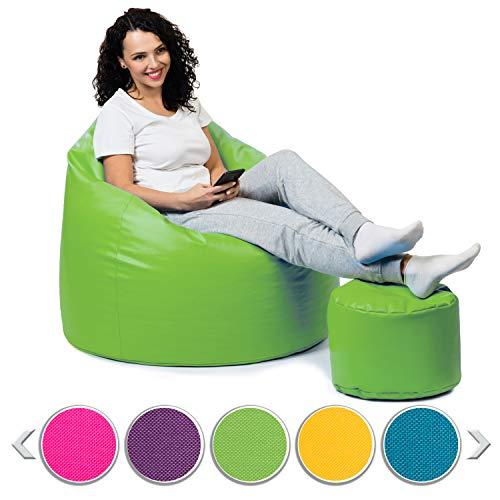 sunnypillow Premium XL Sitzsack mit Hocker Outdoor & Indoor mit 160L Styropor Füllung Sessel für Kinder & Erwachsene Sitzkissen Sofa Beanbag viele Farben zur Auswahl Grün
