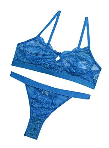 CORAFRITZ Damen-Dessous-Set, durchscheinende Spitze, sexy Body, einfarbig, Unterwäsche, BH, Tanga, dehnbarer Netzstoff, Teddy, Babydoll Gr. L, blau2