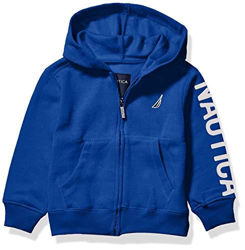 Nautica Boys' Toddler Fleece Sleeve Full Zip Logo Hoodie, Cobalt, 2T
