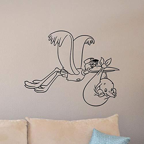 Bebé Dumbo calcomanía de pared cartel de cigüeña elefante vinilo pegatina regalo decoración de habitación de bebé sala de juegos arte de pared de jardín de infantes