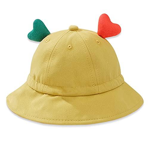Sombrero Pescador para Bebés Verano UPF 50+ Gorro de Sol con Correa de Apriete Ajustable y Orejas Amorosas Bucket Hat de Playa para Infantil Niño Niñas Piscina ( Color : Yellow , Size : 1-3 years )