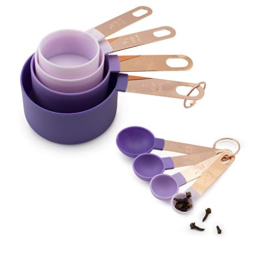 COOK With COLOR 8 Piece Nylon Measuring Cups and Measuring Spoon Set with Stainless Steel Handles (Lavender)