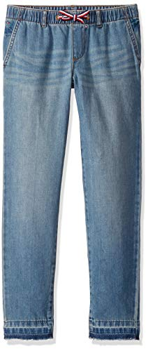Tommy Hilfiger Girls' Adaptive Relax Skinny Jeans with Elastic and Drawstring Waist, TAIYAKI WASH, 12