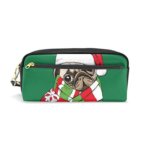 Kerstmuts schattig hond potlood tas voor kinderen jongens grote lederen tas met rits school student cosmetische make-up