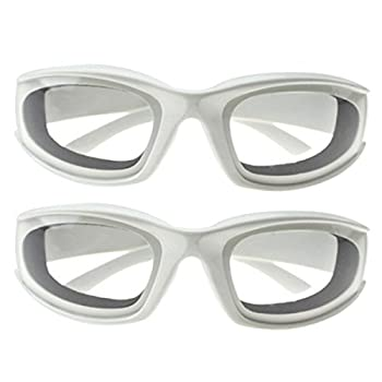 Haoun 2 Pack Onion Goggles Tear Free Kitchen Eye Glasses Onion Cutting Goggles with Inside Sponge  White