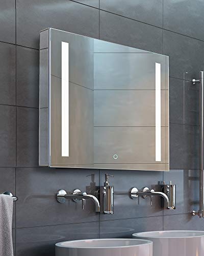 Bathroom Medicine Cabinet, Aluminum, Recessed/Surface Mount, Left Hand Hinged, Mirrored w/ 2 LED Strips (24 x 24)