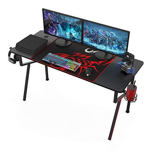 Eureka Gaming Schreibtisch 140 * 60 cm Gaming Tisch Gaming Computertisch PC Schreibtisch mit Getränkehalter und Kopfhörerhalter 140 * 60 cm Schwarz