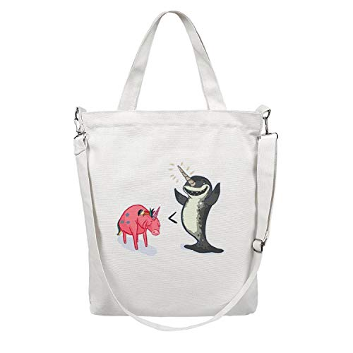 Narwhal Vs Unicorn 12.5' X 15' Canvas Tote Bags For Women Printed For Shopping Handbags