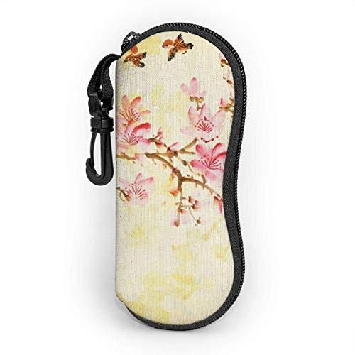 Funda suave para gafas de sol, bolsa de protección portátil ultraligera con clip para cinturón, pintura china tradicional de flores de melocotón