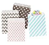 ABSOFINE Papiertüten Geschenktüten Papier Süßigkeiten Papiertüten für Ostern Hochzeit Geburtstag Feier Parteien 100 Stück 4 Designs mit je 25 Papiertüten