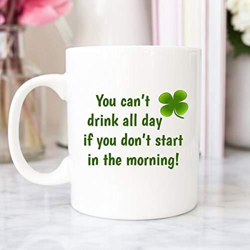 Taza de café irlandesa divertida taza irlandesa con citas de trébol taza de regalo irlandés de San Patricio, regalo del día de San Patricio de la suerte irlandesa