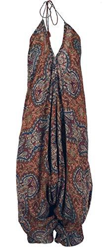 Guru-Shop Boho Jumpsuit, Sommer Pluderhose Overall, Aladin Hosenkleid, Damen, Rostorange, Synthetisch, Size:40, Lange Hosen Alternative Bekleidung