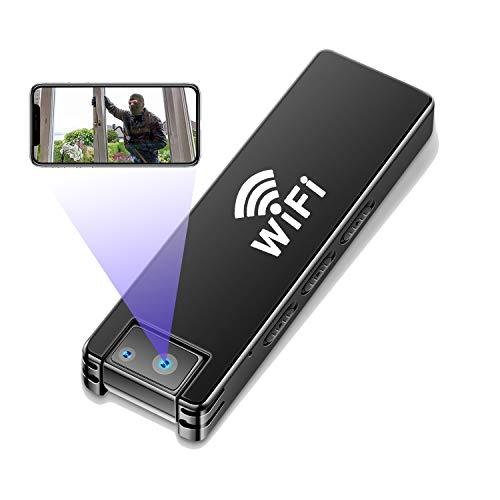 Mini DV Cámara Espía HD 1080P - 4K WiiF CAM Pequeña Cámara de vigilancia portátil Microcámara de Vigilancia con Función de Movimiento Cámara Giratoria Compacta para Uso en Interiores y Exteriores
