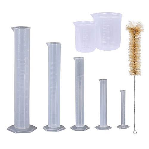 AOIXBCUROC Kunststoff-Zylinder, 10, 25, 50, 100, 250 ml, mit 2 Kunststoffbechern und 1 Zylinderbürste, 5 Stück