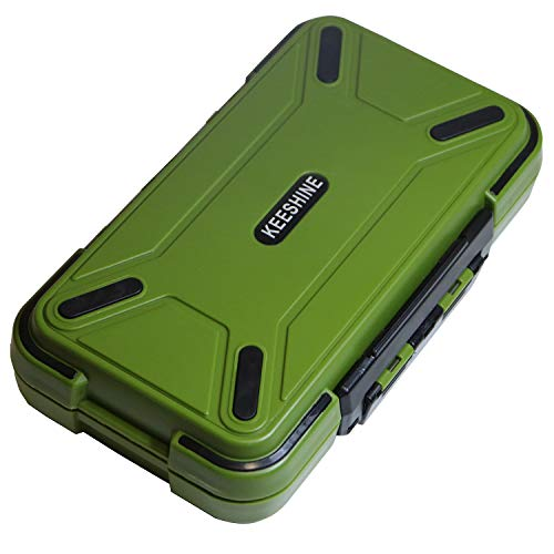 KEESHINE Fishing Tackle Box, Floating Storage Box, Double-Sided Fishing Lure Box with Adjustable Dividers Jewelry Organizer Making Kit Storage Container for Lure Hook Beads Earring Tool(Green)