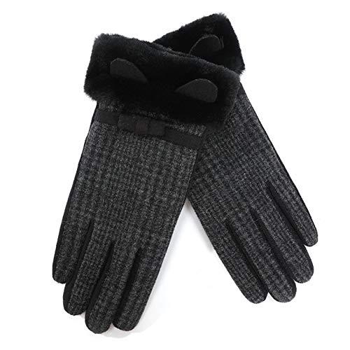 Guantes de invierno para mujer con forro de felpa a prueba de viento y pantalla táctil para mujeres niñas, auto-calentamiento al aire libre a prueba de viento moda ocio frío guantes