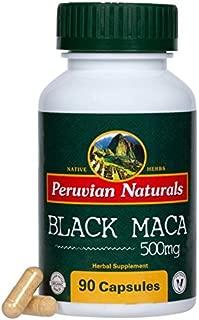 Organic Black Maca 500mg - 90 Capsules - Peruvian Naturals | Certified-Organic Black Maca Root Powder from Peru for Libido and Stamina
