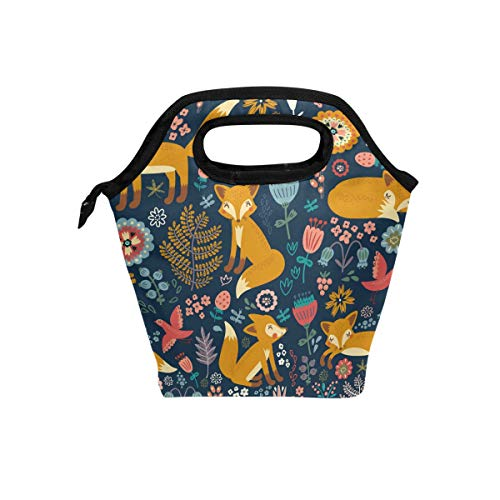 Naanle Cute Foxes Insulated Zipper Lunch Bag Cooler Tote Bag for Adult Teen Men Women Animal Foxes Lunch Boxes Lunchboxes Meal Prep Handbag